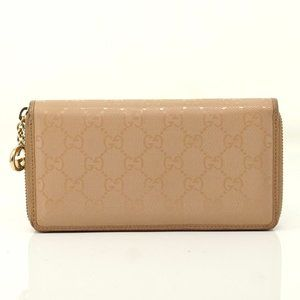 Auth Gucci Zippy Wallet Beige Coated #6219G70